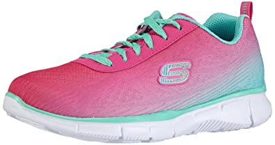 Skechers Skechers Girls Equalizer Lace Up Textile Trainer Sneaker Pink Neon Pink/Multi Textile UK
