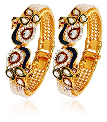 121d90ecad6d3 YouBella Jewellery Traditional Gold Plated Bracelet Bangle Set for Girls  and Women  Amazon.in  Jewellery