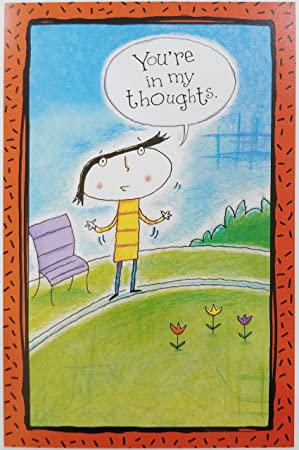 Amazon Com You Re In My Thoughts Greeting Card Thinking Of You Miss Hello Cute Funny Office Products