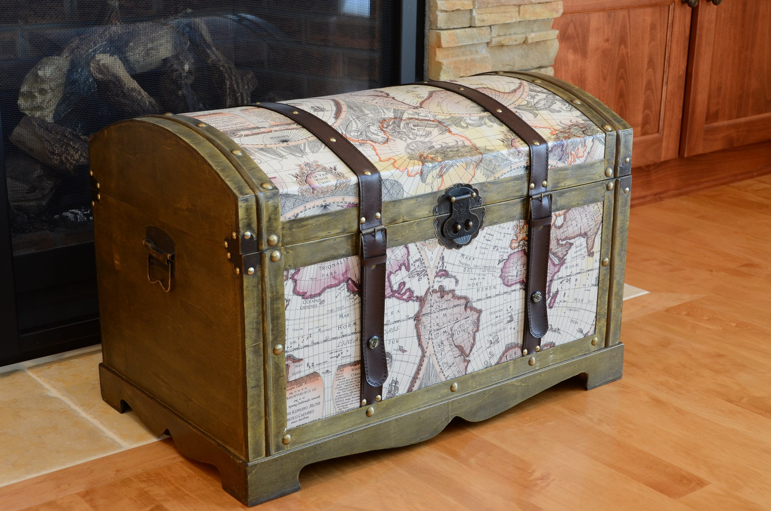 Victorian Ancient World Map Wooden Trunk Wood Treasure Chest - Medium