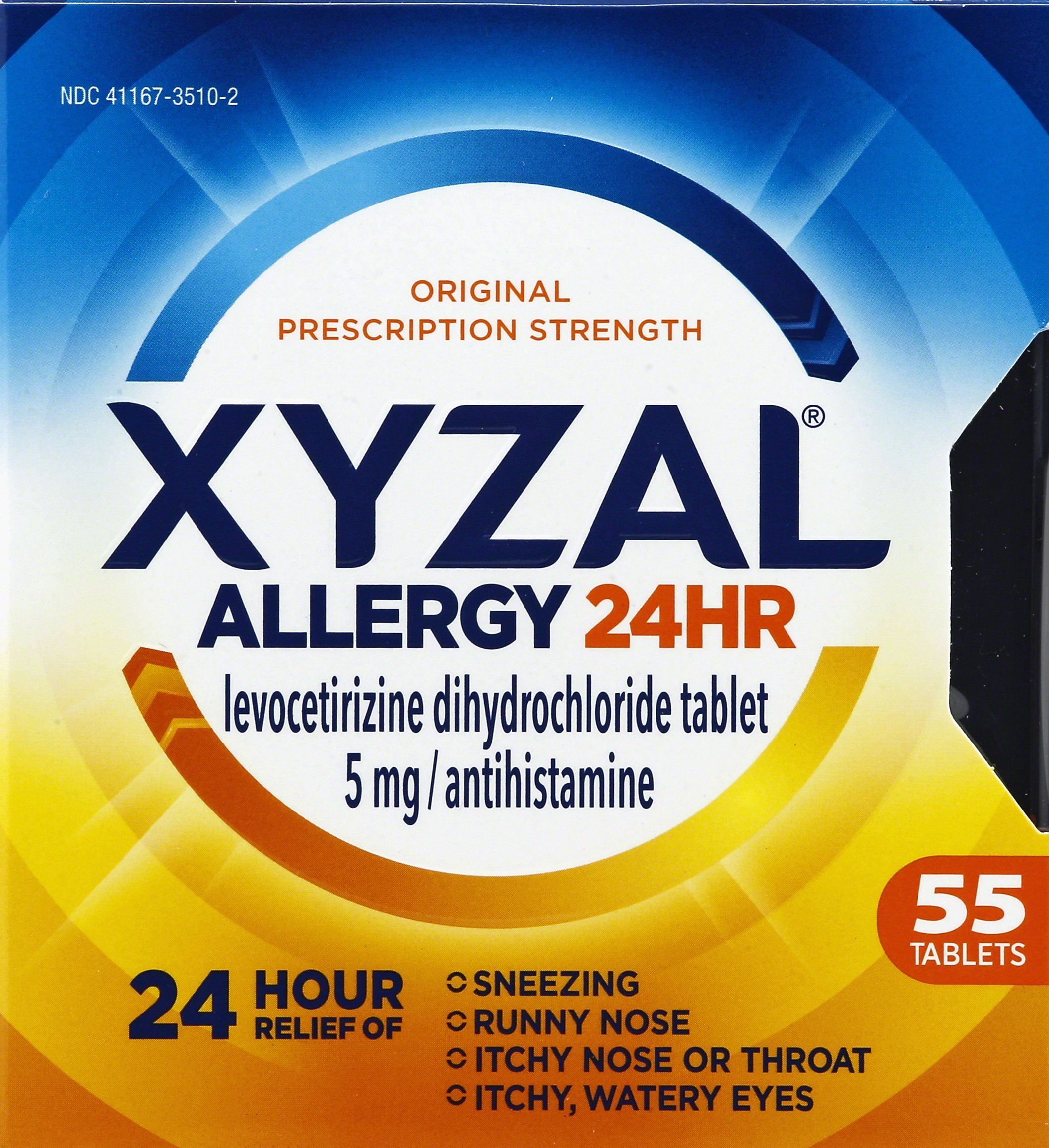 Xyzal Allergy 24 Hour, Allergy Tablet, 55 Count, All Day and Night Relief from Allergy Symptoms Including Sneezing, Runny Nose, Itchy Nose or Throat, Itchy, Watery Eyes by Xyzal