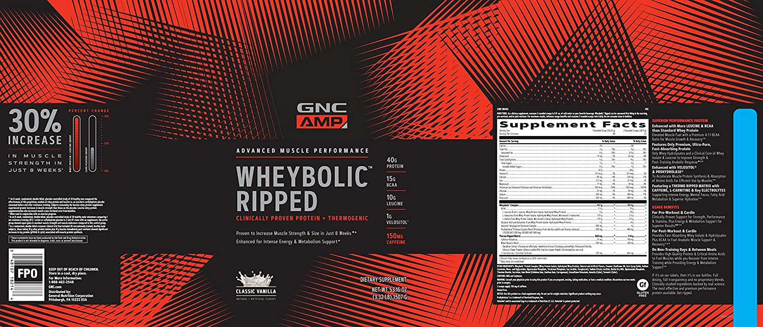 GNC AMP Wheybolic Ripped Whey Protein Powder, Classic Vanilla, 22 Servings, Contains 40g Protein and 15g BCAA Per Serving
