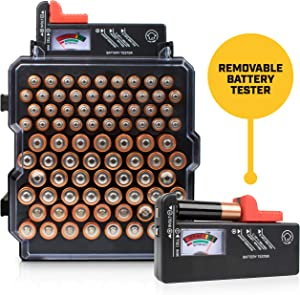 Battery Organizer Storage Case with Battery Tester – Volt...