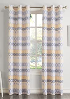 918 Rex Geometric Print Casual Textured Curtain Panel 48 X 63