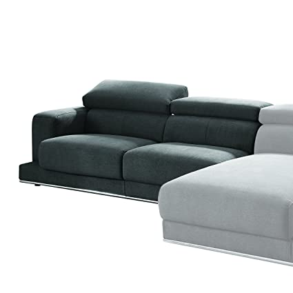 Amazon.com: ACME Furniture Alwin Sectional Sofa, Dark Gray Fabric ...
