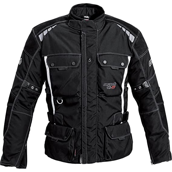Reusch Motorradschutzjacke, Motorradjacke Touren Leder Textiljacke 1.0, wasserdichte Sturmhaube, Flip Back System, Rücken , Schulter und