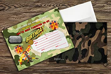 Nerf Gun/Nerf War/ Army Birthday Party Invitations For Boys Pack Of 10 +