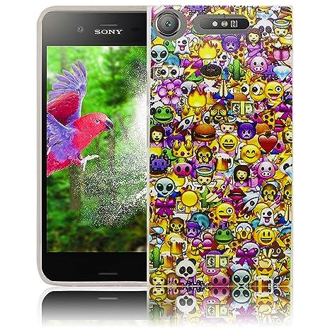 Compatible para Sony Xperia XZ1 Emoji Smile Sonreíry Funda protectora de silicona Funda protectora suave Funda