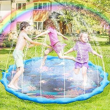 joylink Splash Pad, 172cm Chapoteo Almohadilla Aspersor de Jueg, Jardín de Verano Juguete Acuático para Niños Pulverización para Actividades Familiares Aire Libre Fiesta Playa Jardín: Amazon.es: Juguetes y juegos
