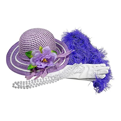 Butterfly Twinkles Girls Tea Party Hat Dress Up Play Set with Purple Sun Hat, Boa, Plastic Pearl Necklace, and White Gloves,: Toys & Games