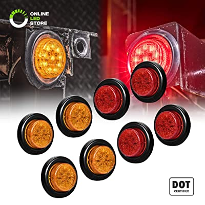 "8pc 2"" Amber + Red Round Trailer LED Marker Lights [DOT Approved] [Reflector Lens] [Grommet] [Flush-Mount] [Waterproof IP67] Marker Lights for Trailer Truck: Automotive"