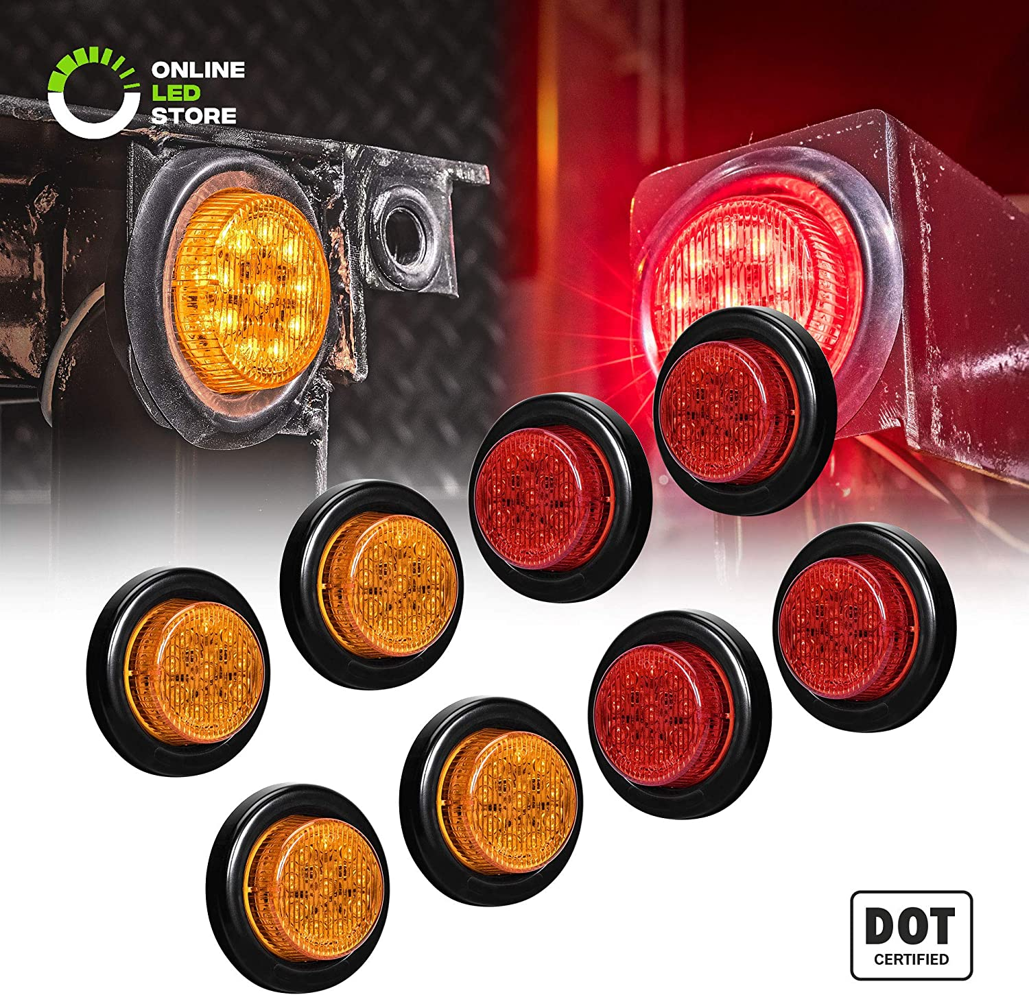 Abrams 2 Red 10 LED Side Marker Trailer Lights 1 Pack IP67 Submersible 2 in 1 Reflector Round Clearance Light Waterproof For Trucks /& Trailers Polycarbonate Reflector SAE//DOT Certified