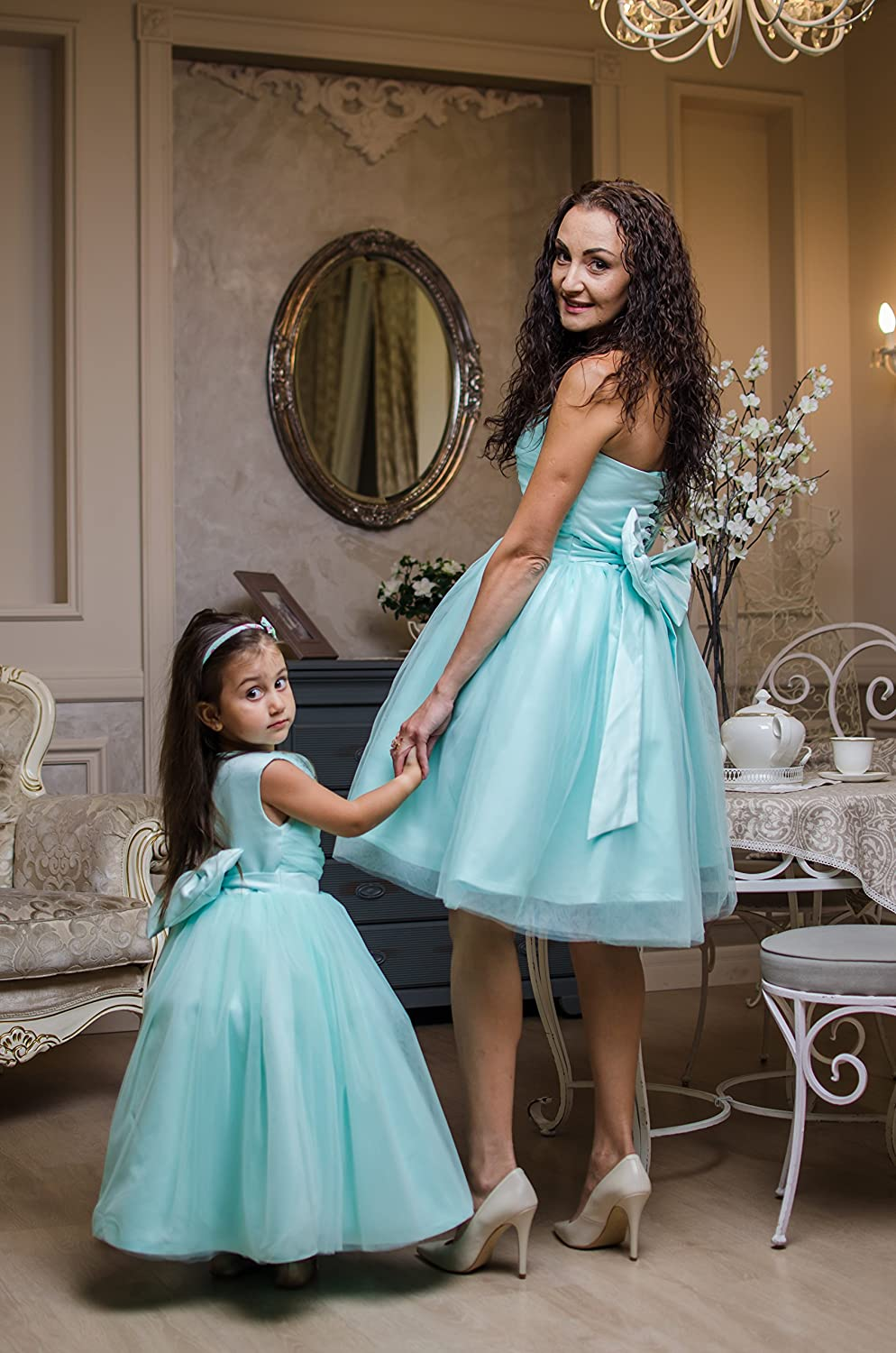 birthday matching clothes mom and daughter the same together formal family outfit Green mint matching tulle skirts for mommy and me