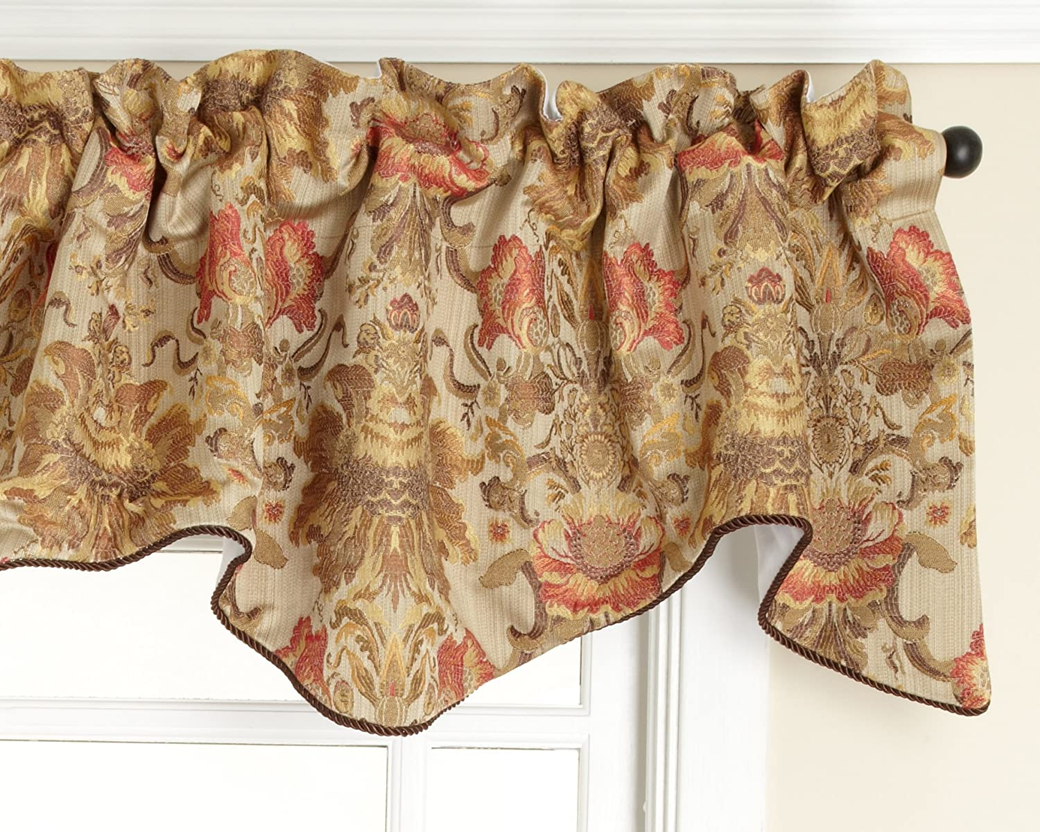 Stylemaster Como Lined Scalloped Valance with Cording, Tuscan, 50 by 17-Inch
