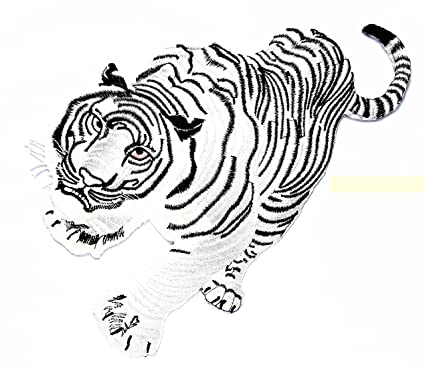 WHITE TIGER EMBROIDERED IRON ON  4 INCH TIGER PATCH