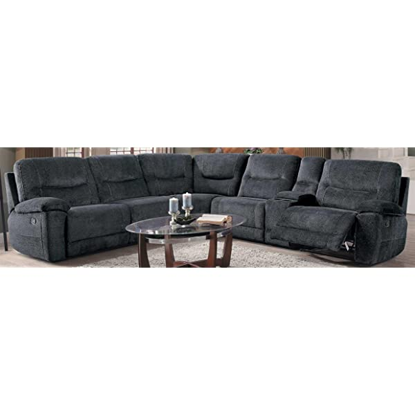 Homelegance Columbus 6 Piece Sectional with Three Reclining Chairs, and Center Cup holders Console Fabric, Cobblestone