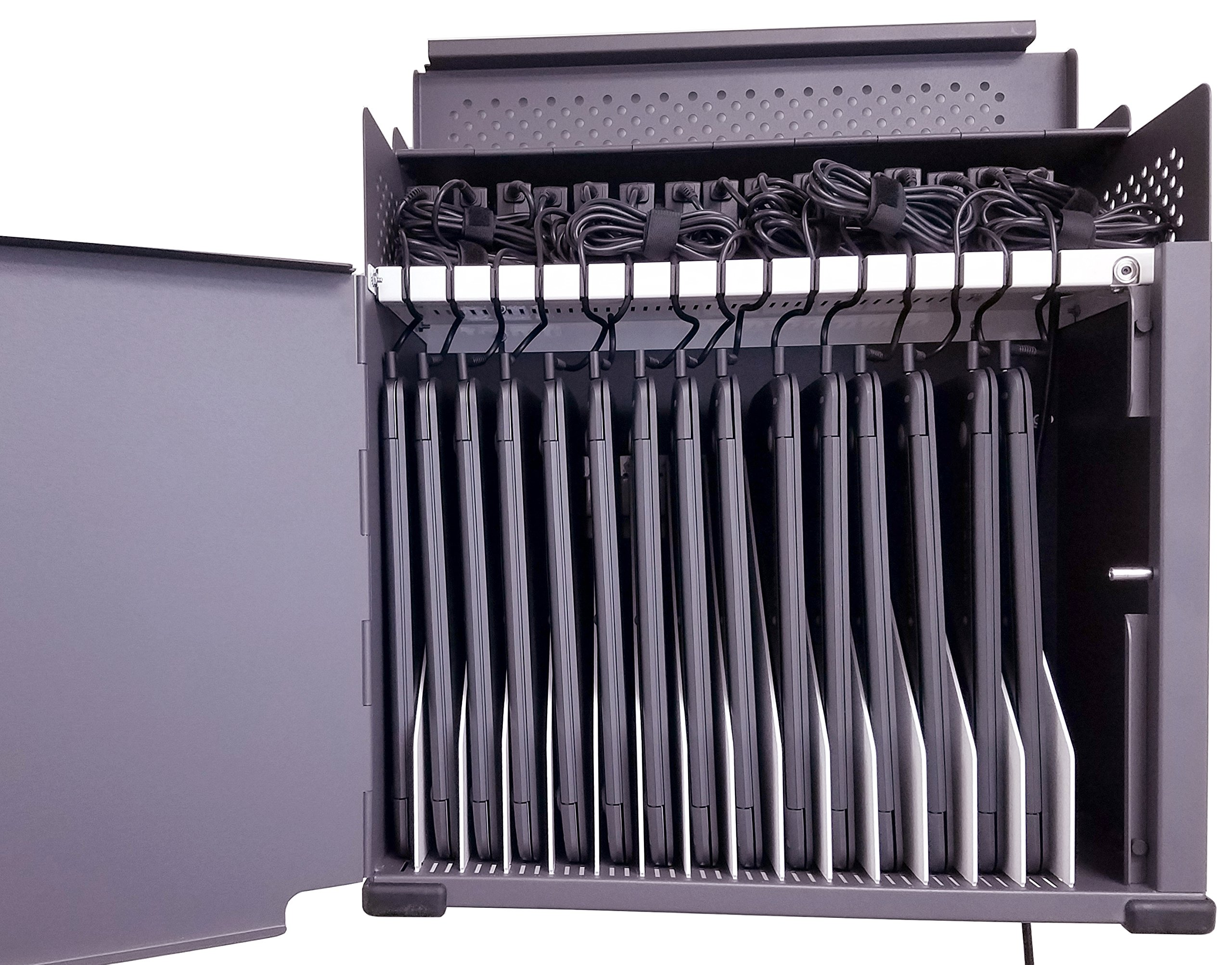 15-Port Wall Mount Safe for Chromebooks, iPads and Tablets