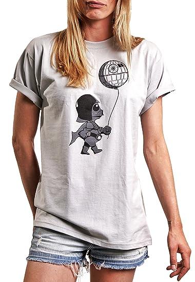 ae8b462225dc Lustige Damen Shirts mit Aufdruck - Baby Vader mit Death Star - Rundhals  Top locker geschnitten