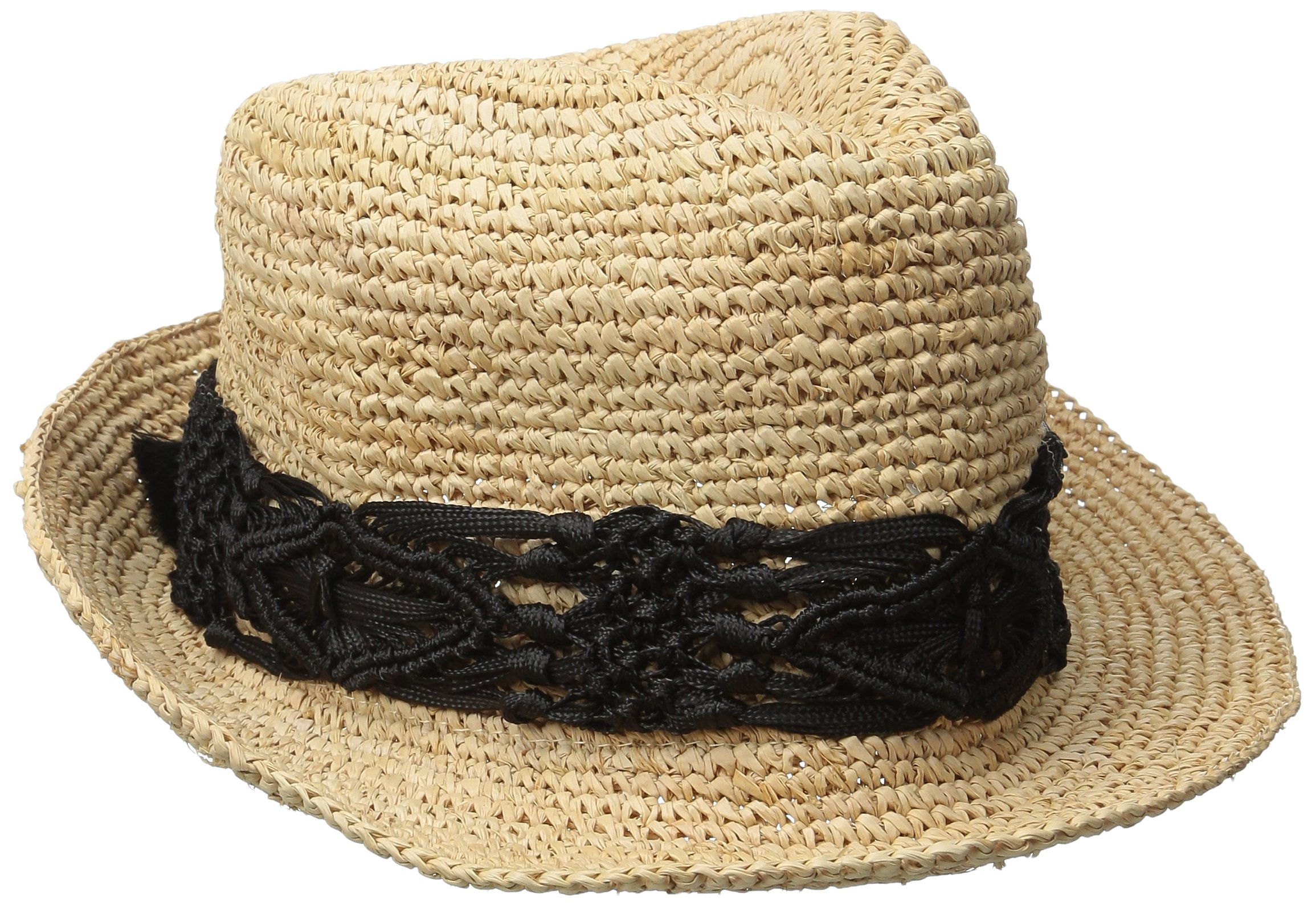 Physician Endorsed Women's Malia Crochet Raffia Sun Hat with Macrame Trim, Rated UPF 30 for Sun Protection, Black, One Size