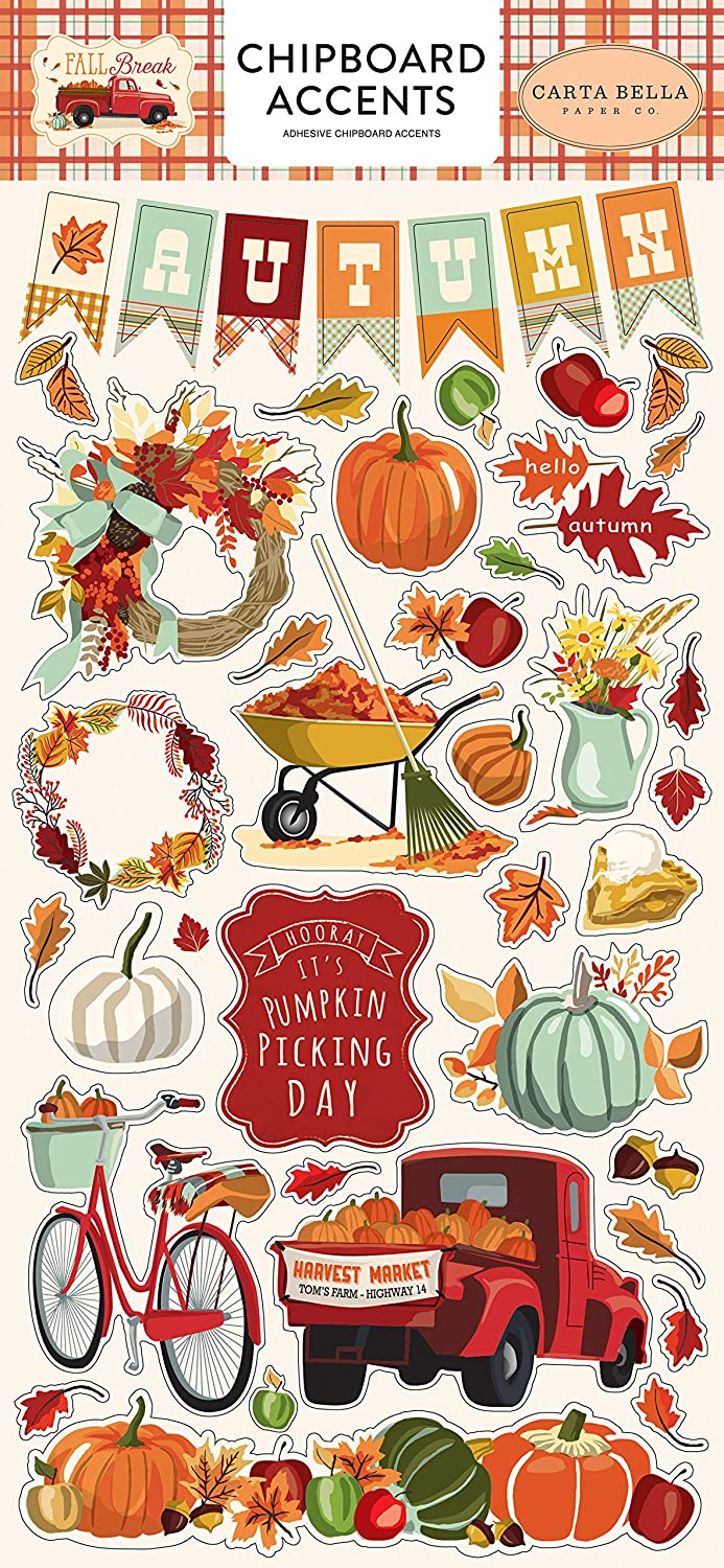 Carta Bella Paper Company CBFA88021 Fall Break Chipboard Accents, Orange/Yellow/Blue/Brown/Tan/Red Echo Park Paper Company