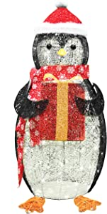 Joiedomi 3ft Cotton Penguin 120 LED Warm White Yard Light for Christmas Outdoor Yard Garden Decorations, Christmas Event Decoration, Christmas Eve Night Decor