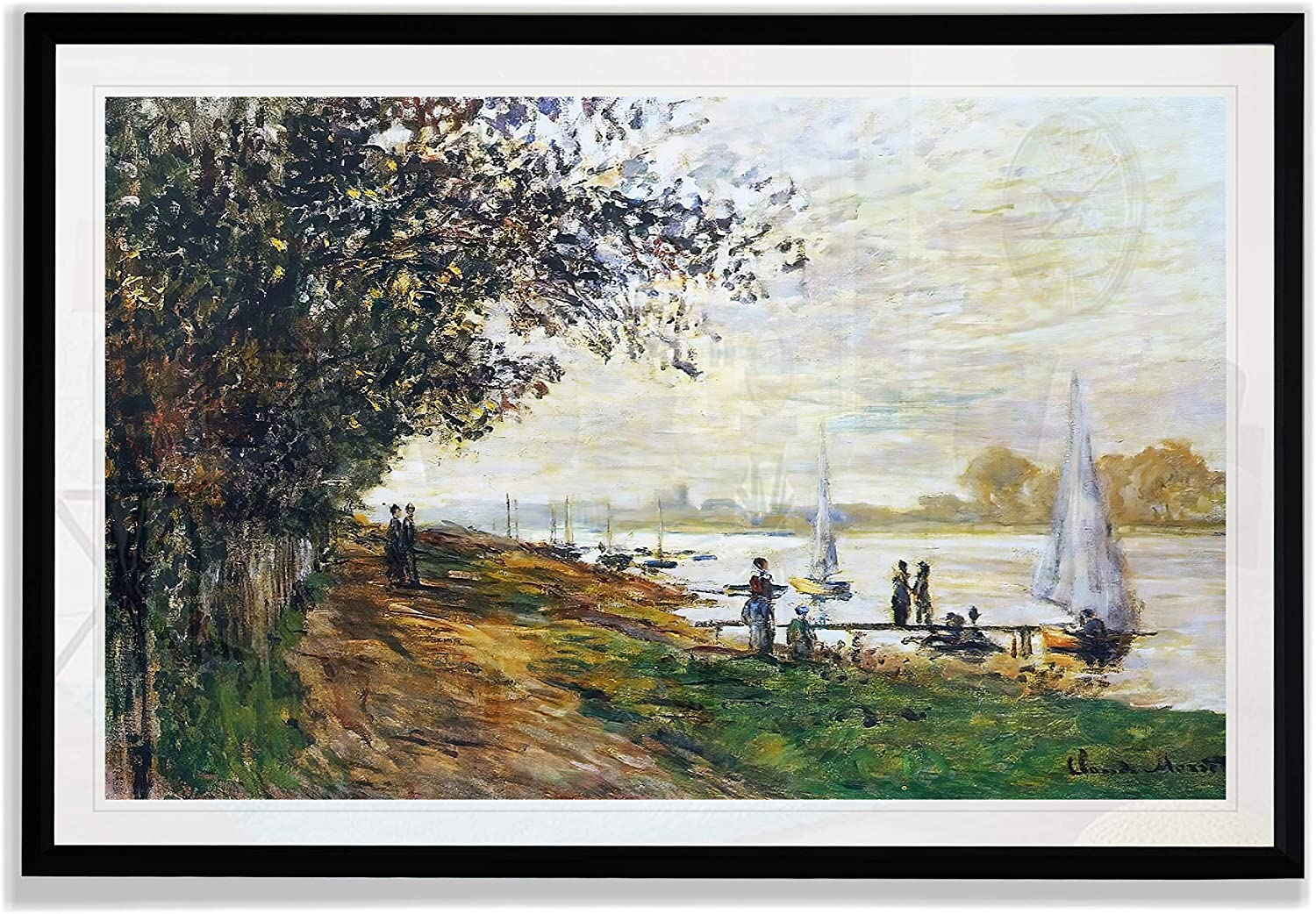 Monet Wall Art Collection The The Riverbank at Le Petit-Gennevilliers, Sunset, 1875 Fine Giclee Prints Wall Art in Premium Quality Framed Ready to Hang 28X48, Black