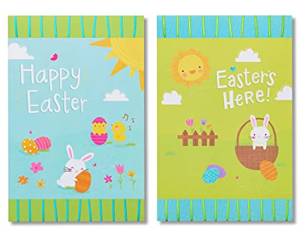 Amazon american greetings blue and green bunny easter cards 6 american greetings blue and green bunny easter cards 6 count m4hsunfo
