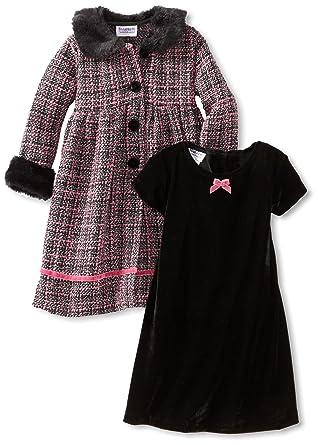 db348f68d Blueberi Boulevard Little Girls  Dress 2 Piece Velvet Coat Set ...