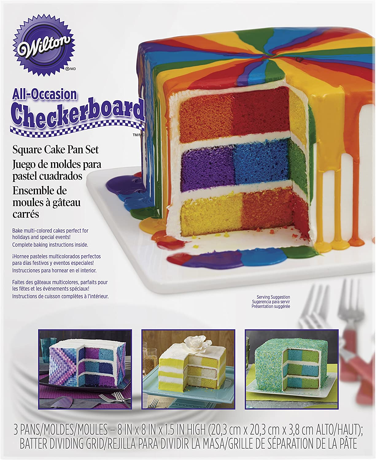 Amazon Com Wilton Checkerboard Cake Pan 4 Piece Set Kitchen