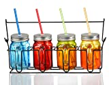 Mason Jars With Lids And Straws Set of 4 Colored