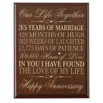 35th Wedding Anniversary Wall Plaque Gifts For Couplecustom Made Her