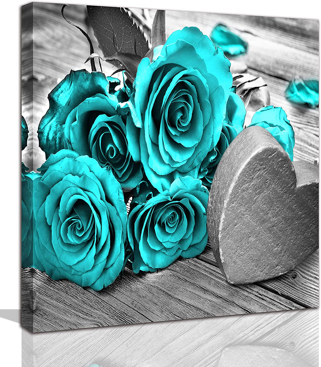 Wall-Art - Prints for Bedroom Rose - Wall-Decor for Bathrooms Black and White Canvas for Living Room Framed Prints Teal Paintings for Kitchen Decoration Poster Gift 14x14 inches
