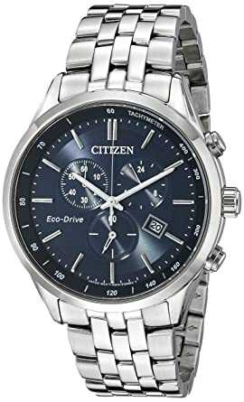 7b13536df Citizen Men's Eco-Drive Chronograph Stainless Steel Watch with Date,  AT2141-52L