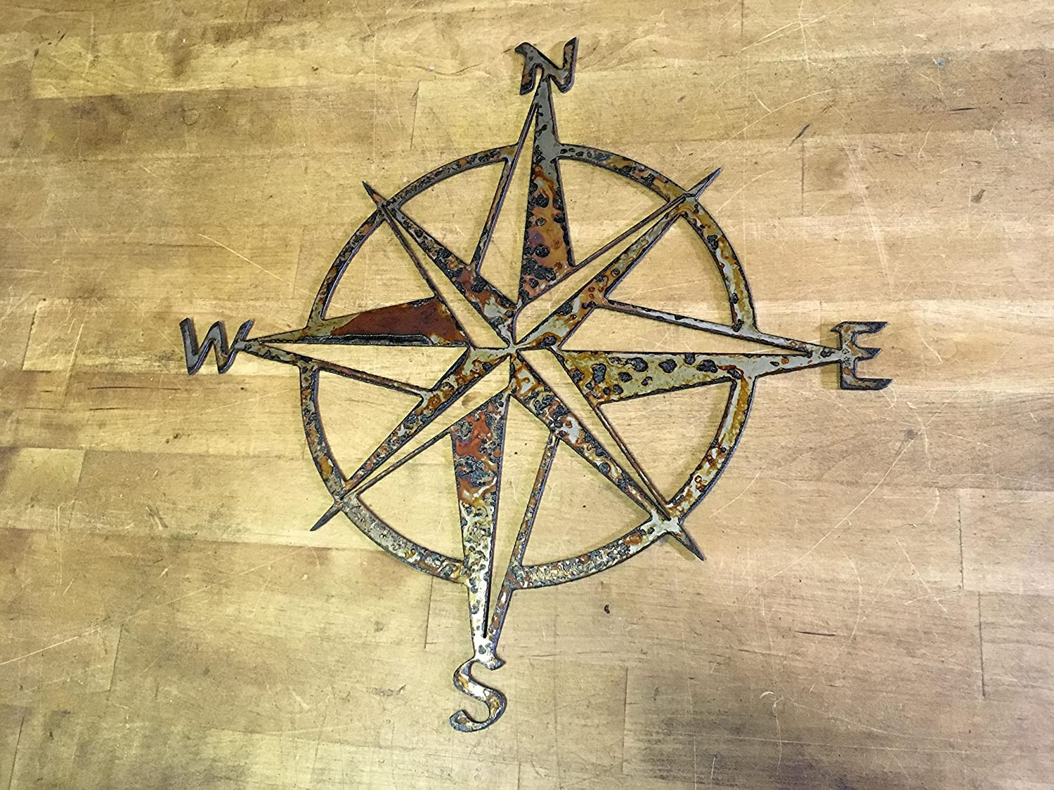 Amazon.com: Nautical Star Compass Steel Wall Decor wall hanging art ...