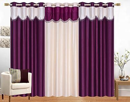 Honey Traders Premium Wine Cream Plain Eyelet Lace Door Curtains Set Of 3  Pcs
