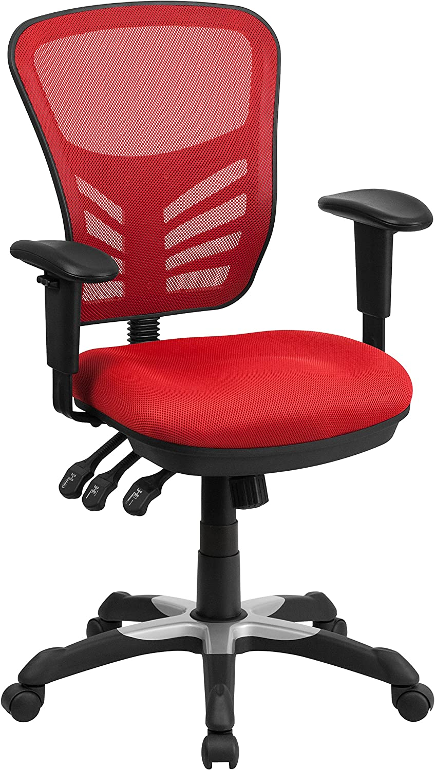 Flash Furniture Mid-Back Red Mesh Multifunction Executive Swivel Ergonomic Office Chair with Adjustable Arms