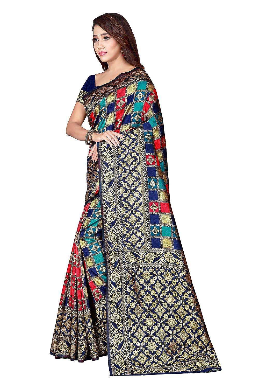 Buy Drapme Women's Banarasi Silk Kanjivaram Jacquard Blue
