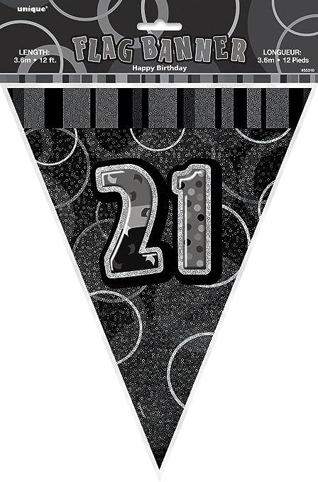 Black Glitz Flag Bunting 12ft **choose age**