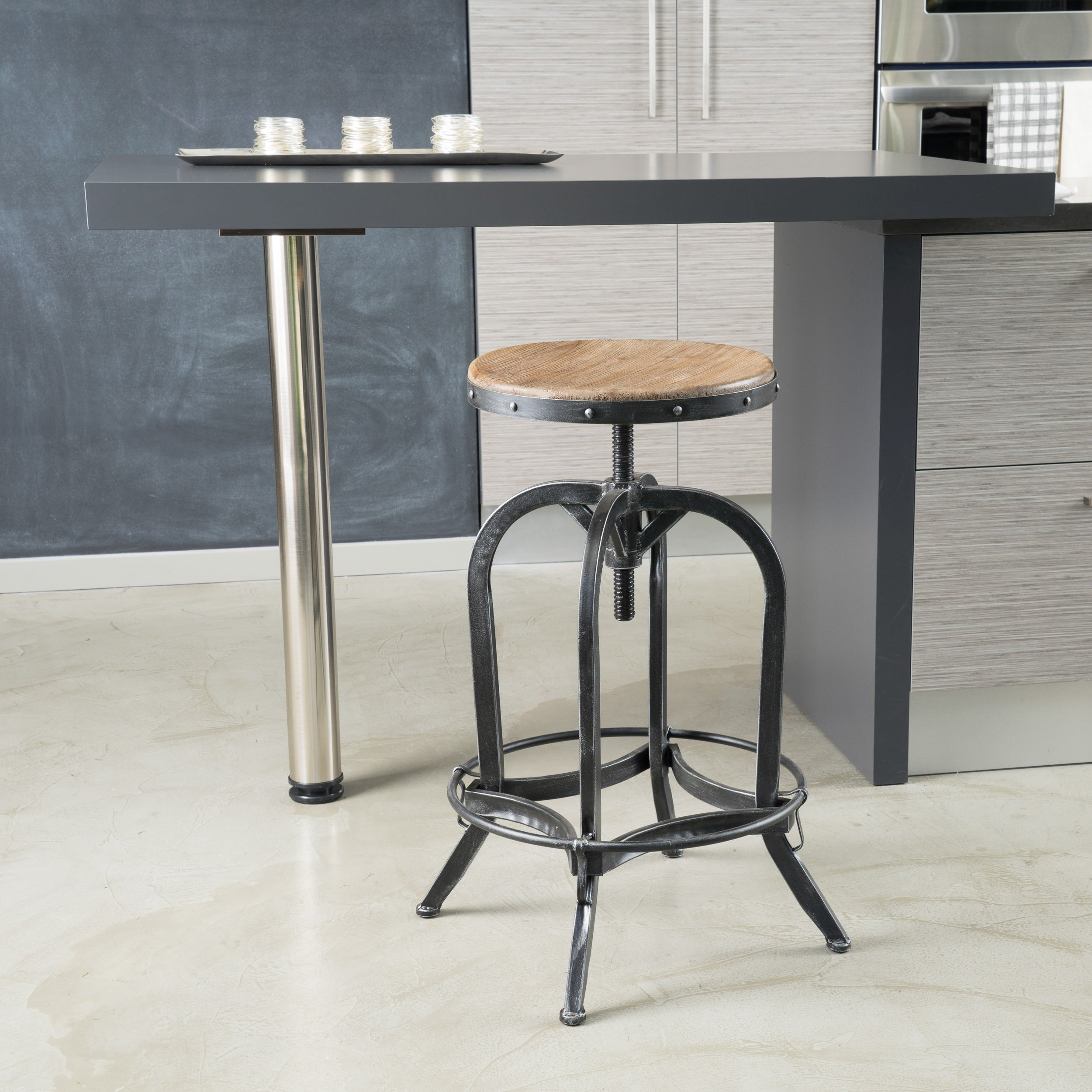 Adjustable Natural Fir Wood Finish Barstool Steel Base Industrial Look. 26-32.9 Inches High