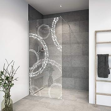 Mampara de ducha de diseño de vidrio templado de alta calidad, grabado láser, perfiles en cromo (acabado estándar).: Amazon.es: Bricolaje y herramientas