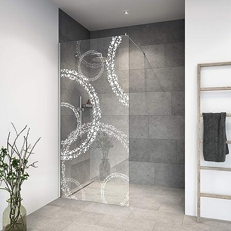 Mampara de ducha de vidrio templado con decoración LaserVision_020, ducha de cristal, grabado láser, varios diseños y dimensiones, incluye perfiles en cromo (alimentación premium)., 1300x2000mm: Amazon.es: Hogar