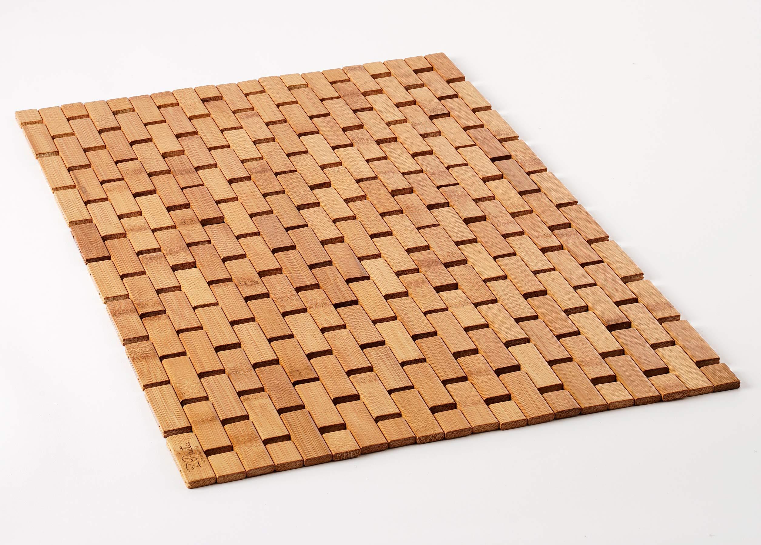 Natural Bamboo Wood Bath Mat, Door Mat and Kitchen Rug - Boho Accessories for Bathroom, Sauna, Tub, Shower Doorsteps and Textured Floors (Bamboo Lattice, Standard 16x24 Inch)