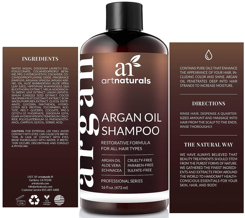 e4ef0ef835 ArtNaturals Reines Organisches Arganöl Shampoo - (12 Oz / 354 ml) - Zur  Tägliche Haarpflege - Für jeden Haartyp geeignet - Sulfat- und  Silikon-Frei: ...
