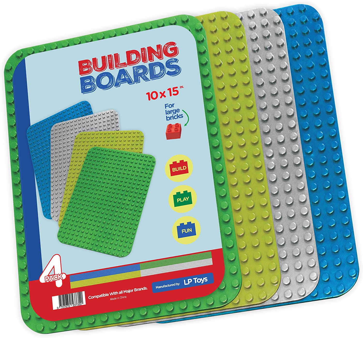 """Baseplates for Large Building Blocks 4 Pack Set 1 Green,1 Light Green,1 Grey,and 1 Blue Large [10"""" x 15""""] Plastic Baseplate -Tight fit with Large Blocks, Compatible with All Major Brands"""
