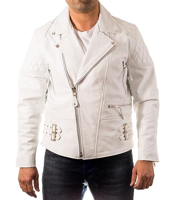 Hombre blancas Brando lateral con cremallera de la chaqueta ...