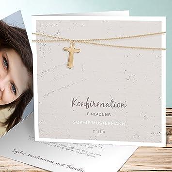 Einladung Zur Konfirmation Schreiben, Holzkreuz 5 Karten, Quadratische  Klappkarte 145x145 Inkl. Weiße Umschläge