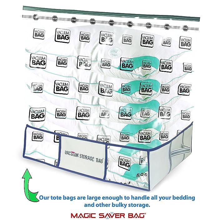 Magic Saver Bag Bolsas para Almacenamiento al vacío Tote - XXL, Ribetes de tamaño Extra Extra Grande con Tiras de Blanco y Azul Oscuro y Azul Oscuro: ...