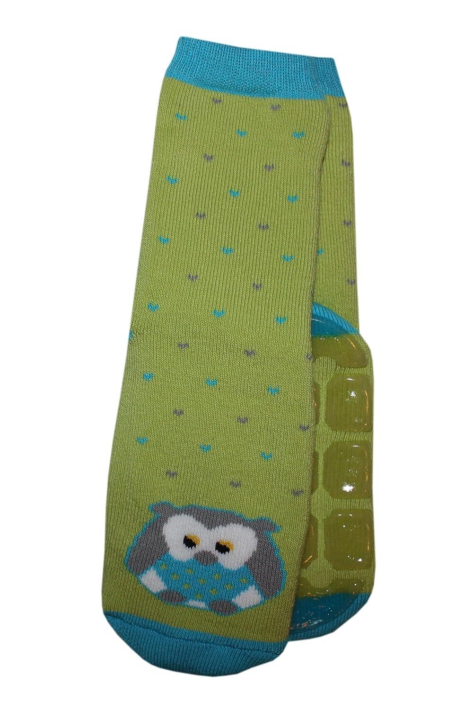 Weri Spezials Unisexe Bebes et Enfants ABS-Turtle Hibou Pantoufle Chaussettes Vert