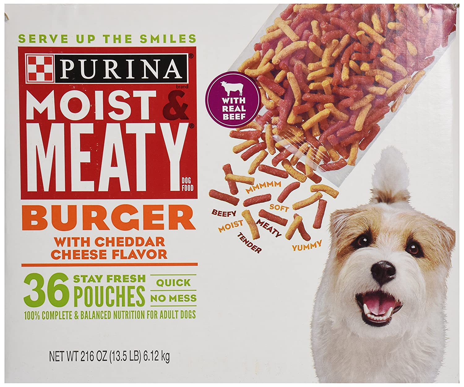 Purina Moist Meaty Dog Food, Burger with Cheddar Cheese Flavor, 36 Pouches, 6 oz each