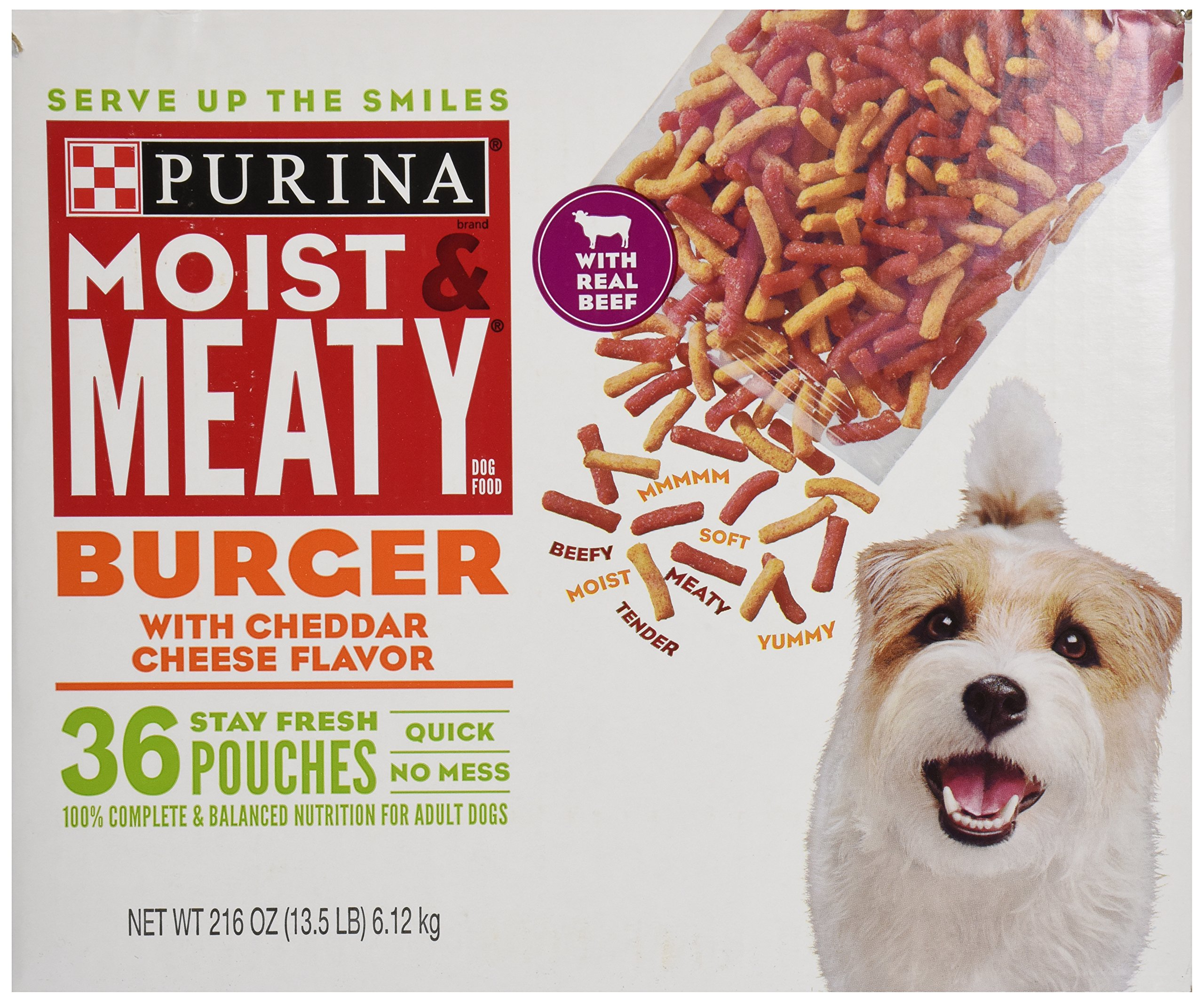 Purina Moist & Meaty Dog Food, Burger with Cheddar Cheese Flavor, 36 Pouches, 6 oz each